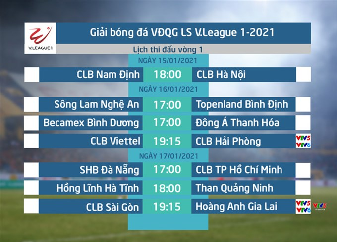 Lịch thi đấu và trực tiếp vòng 1 V.League 2021: Tâm điểm CLB Sài Gòn – Hoàng Anh Gia Lai, CLB Viettel – CLB Hải Phòng