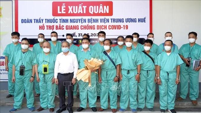 Đoàn y, bác sĩ Bệnh viện Trung ương Huế hỗ trợ Bắc Giang chống dịch COVID-19