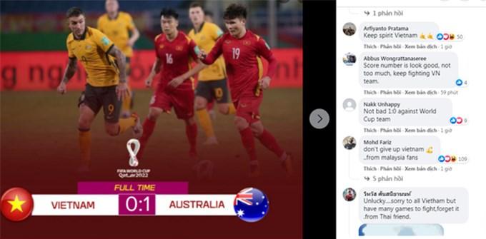Việt Nam được cổ động viên châu Á khen ngợi dù thua Australia