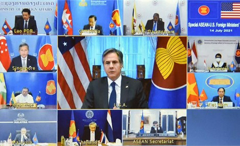 U.S. calls for ASEAN action on Myanmar, rejects China maritime claims