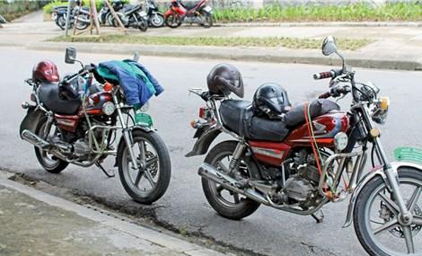 In Hue, Vietnam, sightseeing via motorcycle
