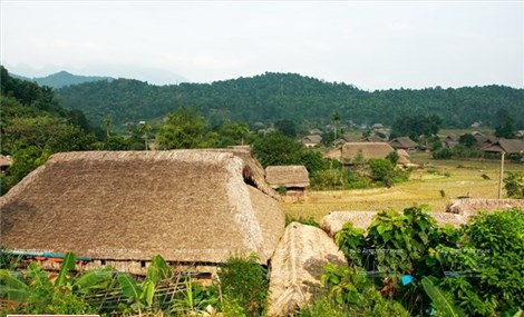 Thatched houses village in Ha Giang