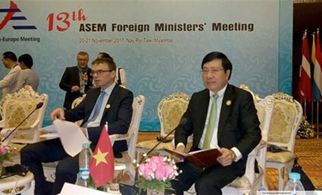 越南在亚欧论坛上呼唤保障东海和平、安全、稳定及航行与飞越自由