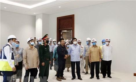 Lãnh đạo Lào thăm công trình Tòa nhà Quốc hội do Việt Nam tặng