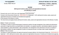 DECREEDefining the functions, tasks, powers and organizational structureof the Ministry of Justice