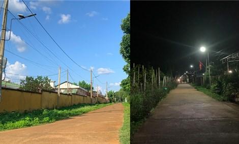 Thắp sáng đường nông thôn bằng đèn năng lượng mặt trời