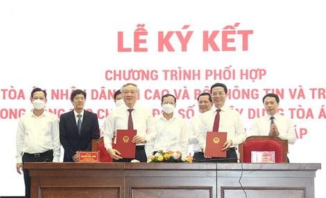 Bộ TT&TT và TAND tối cao phối hợp trong công tác chuyển đổi số và xây dựng tòa án điện tử