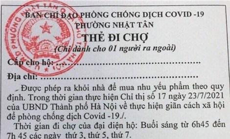 """Phường Nhật Tân (Hà Nội) áp dụng """"thẻ đi chợ"""""""