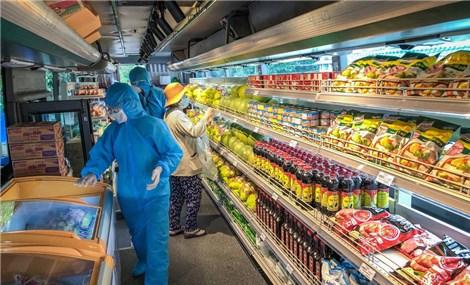 Xe buýt tháo ghế, thành siêu thị mini di động