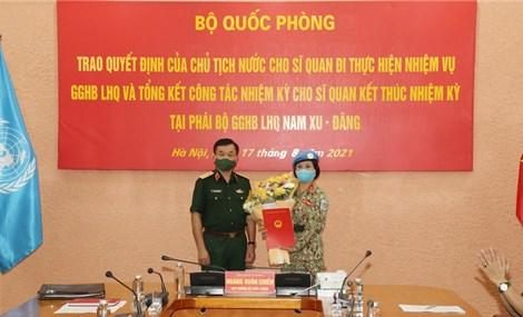 Nữ quân nhân Việt Nam lên đường thực hiện nhiệm vụ gìn giữ hòa bình Liên Hợp Quốc