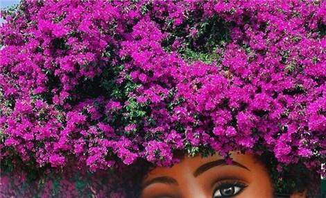 Bức tranh cô bé với mái tóc là giàn hoa giấy khổng lồ gây sốt mạng xã hội